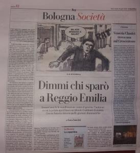 """""""Sangue del nostro sangue"""" su La Repubblica Bologna"""