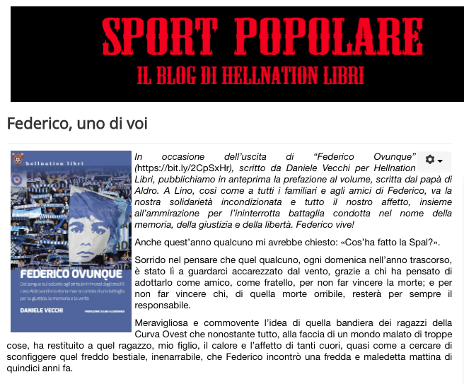 Sportpopolare.it: la prefazione di Lino Aldrovandi al libro di Daniele Vecchi