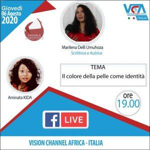 Diretta su Facebook il 6 agosto ore 19:00 Marilena Umuhoza Delli su Vision Channel Africa - Italia